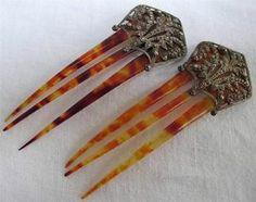 PAIR of ANTIQUE EDWARDIAN FAUX TORTOISESHELL & CUT STEEL HAIR COMBS c1910