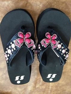 53aca086b05df9 Cowgirl Western Rhinestone Bling Flip Flops Shoes Sandals Black Hair  Butterfly