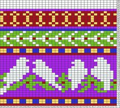Tricksy Knitter Charts: birds on wire c by Crob Tapestry Crochet Patterns, Fair Isle Knitting Patterns, Fair Isle Pattern, Knitting Charts, Knitting Stitches, Knitting Designs, Baby Knitting, Loom Animals, Fair Isle Chart