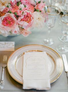 this pink and gold table setting is EVERYTHING | Photography by josevillaphoto.com |  Event and Floral Design by kathleendeerydesign.com | Planning by lauriearons.com |  Read more - http://www.stylemepretty.com/2013/07/25/kathleen-deerys-san-francisco-wedding-from-jose-villa/