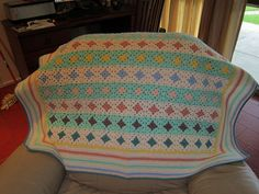 Inspiration ::  Pretty layout of granny squares for this baby blanket  #crochet #afghan #throw #pillow