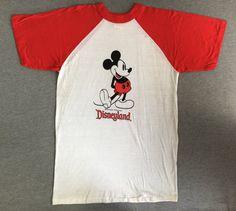 MICKEY t-shirt vintage 80 s Disney vintage t-shirt white and red raglan sleeves Walt Disney World 80s vintage USA - Size S egHs2rCof