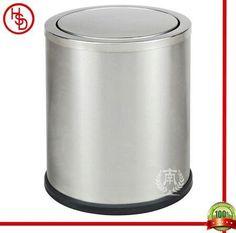 HOUSED-豪仕达,酒店用品/hotel articles#GPX-205 dustbin#翻盖:0.7mm201#砂钢;桶身:0.5mm201#砂钢;桶底:橡胶圈;圆形单层桶/swinging cover &  body: 201# stainless steel(matt finished); bottom: rubbber ring;round shape, 1-layer#size:24.5*29.5CM