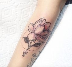 Pink Floral Tattoo by Nathaly Bonilla - The subtle color, the dotwork. This sways me from the idea of blackwork.