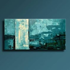 48 ORIGINAL ABSTRACT Painting Teal Blue Black Green