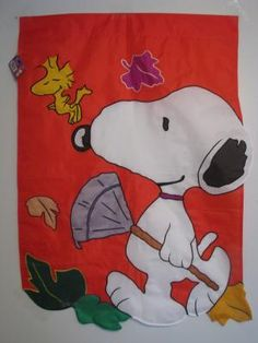 """LARGE SNOOPY & WOODSTOCK """"FALL"""" APPLIQUE' HOUSE FLAG 28""""X 40"""" VHTF NEW"""