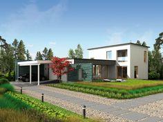 Honka Lumi's modern facade combines wood, plaster and steel. Honka Lumi.