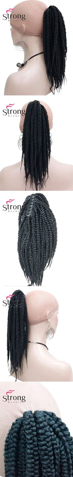 StrongBeauty Long Afro Kinky Curly Crochet Twists Braids Ponytail Hair Extension Synthetic HairPiece with Jaw Claw Clip Black