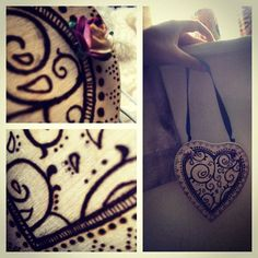Pyrography heart shaped door/wall hanger by HannrawrHandMade, £25.00