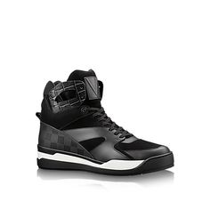 Discover Louis Vuitton Kick-off Sneaker Boot: This cutting-edge street-style sneaker is crafted from an elaborate patchwork of materials, including suede calf leather, embossed calf leather and rubber embossed with Louis Vuitton's iconic Damier pattern. It features a thick technical outsole constructed from three separate elements.