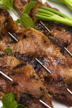 Beef Skewers with Blue Cheese Sauce
