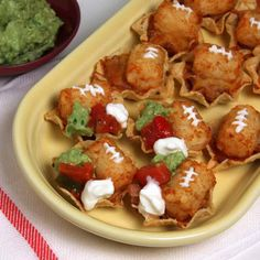 Fiesta Football Taters  A tater football puts these mini tostadas in a league of their own.