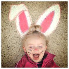 Easter Bunny sidewalk chalk art :)