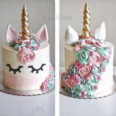 Best 12 Cute Unicorn cake tutorial – the best birthday cake – SkillOfKing. Buttercream Birthday Cake, Cupcake Birthday Cake, Cool Birthday Cakes, Birthday Cake Girls, Unicorn Birthday Parties, Unicorn Party, Cupcake Cakes, Unicorn Cakes, Zucchini Cake