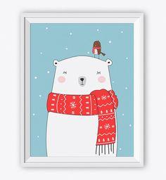 Druckbare Eisbär Kunstdruck - Digital Wall Art - sofort-Download. Kinderzimmer Wandkunst zu tragen. Kinder Raum Dekor. Kindergarten Animal.Baby Raum Dekor