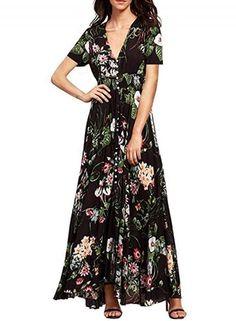 #NewYear #Oasap - #oasap Bohemian V Neck High Waist front Slit Floral Maxi Dress - AdoreWe.com