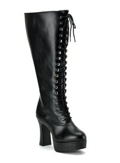 Black Vintage Victorian-Gothic style lace up leather boots