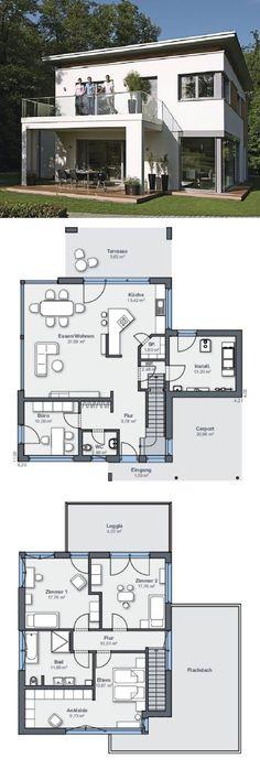 Modernes Einfamilienhaus Mit Flachdach Architektur Amp Loggia Anbau Mit Terrasse Haus Bauen Grundriss Ideen Fertigha Architektur Einfamilienhaus Weber Haus