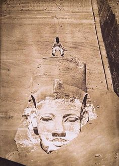 JOJO POST STAR GATES: WHO MADE THIS? WHAT IS THE MESSAGE THAT THEY LEFT HERE FOR THE FUTURE GENERATIONS ON PLANET EARTH, THOUSANDS YEARS AGO??? Westernmost Colossus of the Temple of Re, Abu Simbel - Photo: Maxime Du Camp (French, 1822–1894), 1850.