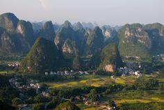 The surreal karst landscape at Yangshuo