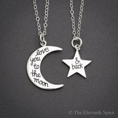 Love You to the Moon and Back Necklace, Mother Daughter Necklace Set, Best Friend Necklace for 2, Moon and Star Necklace, Sterling Silver by TheEleventhSpirit on Etsy https://www.etsy.com/listing/236068539/love-you-to-the-moon-and-back-necklace