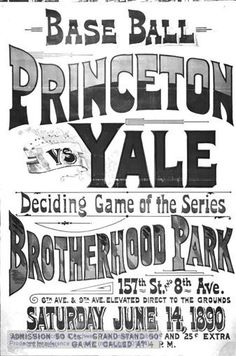 Baseball poster for the Princeton vs. Yale game on June 14, 1890. by Yale University, via Flickr