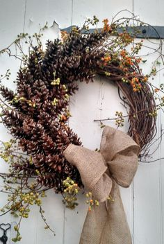 Large Pinecone and Bittersweet Wreath with Burlap by scarletsmile