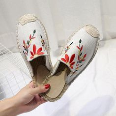6d7becb82bbf Fashion Embroidered Espadrille Flat Slippers Loafer Shoes