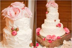 Huge pink roses top this beautiful wedding cake at a wedding held at The Addison in Boca Raton, Florida. Resting on an intricate gold platform, the cake is frosted in white, with smaller garden roses at the base and on the sides. The John Parker Band played for the newlyweds and guests at the couple's reception party. http://www.jpband.com/weddings.html