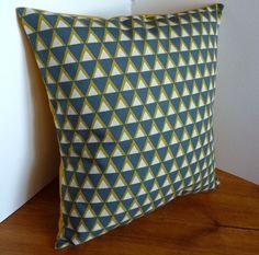 Grey & Yellow Geometric Print Cushion by FudgeandPoppy on Etsy, £10.00