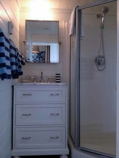 mobile Home Design Ideas, Pictures, Remodel, and Decor. this would work with a dresser that already has a mirror on it.