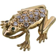 Vintage Gold and Diamond Frog Pendant / Slide Amphibians, Reptiles, Animal Jewelry, I Love Jewelry, 14 Karat Gold, Bling Bling, Pendant Jewelry, Antique Jewelry, Gems