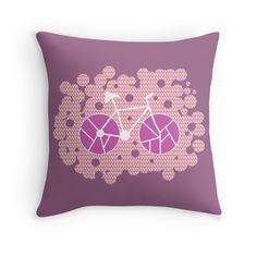 Bubbly bike in purple #homedecor #pillow @redbubble