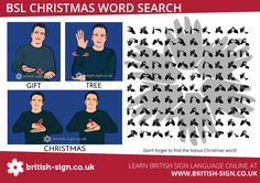 Have a go at this BSL Christmas word search. #BritishSignLanguage