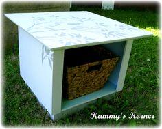 Kammy's Korner: Piece of Junk $1 End Table Before and After  http://www.kammyskorner.com/2012/05/piece-of-junk-1-end-table-before-and.html#