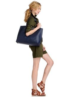Style tip: Reversible Tote!- Milan (Sole Society)  army green Zara romper + cognac color sandals