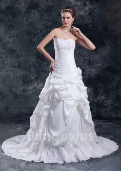 Sweetheart Sweep Taffeta Appliques Lace Up White A-line Sleeveless Wedding Dresses