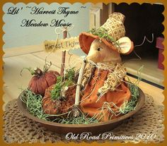 Lil' Harvest Thyme Meadow Mouse n' Pumpkins by OldRoadPrimitives, $7.95