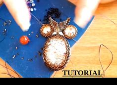 DIY tutorial gufo perline embroidery con rivoli swarovski e cabochon in resina delica - YouTube