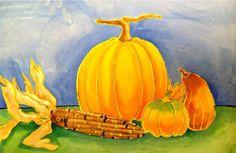 Pumpkin & Gourd Still life watercolor resist painting