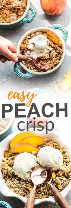This recipe for Peach Crisp is the perfect easy treat to celebrate the end of summer. Best of all, this delicious dessert is gluten free, butter free and is less in added sugar. Made with fresh juicy sweet peaches, and the crispiest oat crumble topping. Serve it bubbling hot with some creamy vanilla frozen yogurt or vanilla ice cream for the ultimate dessert. @splenda #sweetswaps #splendasweeties #ad