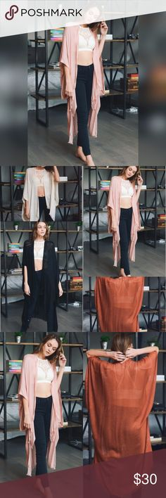 "SALE!!! BLUSH DUSTER/KIMONO/CARDI/JACKET Blush one size long kimono-style jacket. A great piece for fall! Length is 42"". 100% Viscose. Also available in rust, nude, and black. Accessories Scarves & Wraps"