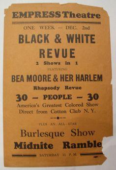 Bea Moore & Her Harlem Rhapsody 1920's Broadside America's Greatest Colored Show