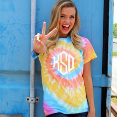 Monogrammed Pastel Tie Dye T-Shirt from Marleylilly.com!