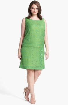 Free shipping and returns on Tahari Jacquard Drop Waist Shift Dress (Plus Size) at Nordstrom.com. A dropped inset waist underscores the retro-inspired silhouette of a sleeveless shift patterned with a varying sizes of jacquard-woven dots.