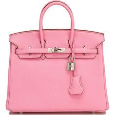 Hermes 5P Togo Birkin 25cm Palladium Hardware ($21,000) ❤ liked on Polyvore featuring bags, handbags, pink handbags, genuine leather handbags, kiss-lock handbags, pink leather purse and leather bags