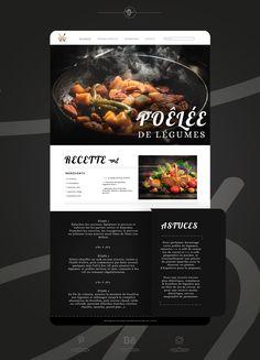 #graphicdesign #website #webdesign #web #ideas #design #graphic #graphiste #siteweb #site Creative Web Design, Adobe Xd, Food Website, Behance Net, Graphic Design, Cooking, Ideas, Kitchen, Thoughts