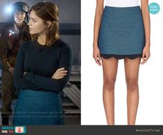 Clara's blue dotted skirt on Doctor Who.  Outfit Details…