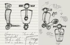 Designer's original sketches for the Paperino