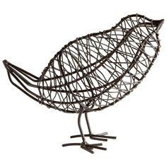 "Bring sweet little birds indoors with this iron bird sculpture. Graphite finish. Dimensions: 5""h x 2.5""d x 6.5""w"